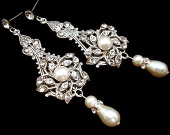 Bridal earrings, Pearl Wedding earrings, Wedding jewelry, Chandelier earrings, vintage style earrings, antique silver earrings, AVA