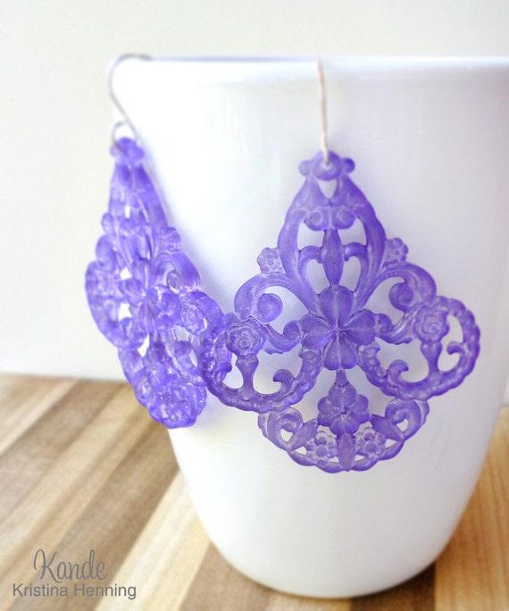 Light Purple Chandelier Earrings, Large Lucite Drops, Silver, Kande Kristina Henning - Roxanne