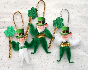 St. Patrick's Day Chenille Ornaments,  Handmade St. Patrick's Day Decorations (88p)