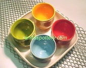 Bright Colors Pottery Serving Set 4 Cups Red Lime Mustard Orange Aqua White Tray
