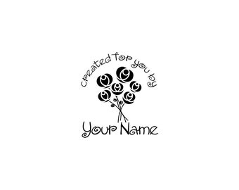 Handle Mounted or Cling Personalized Name custom made rubber stamps C08
