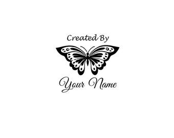 Handle Mounted or Cling Personalized Name custom made rubber stamps C48