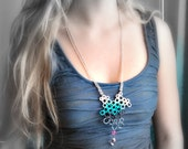 Long Crochet Necklace with Quartz on a Silver Chain. Aqua, Charcoal, Neon Pink, Pale Pink, Beaded
