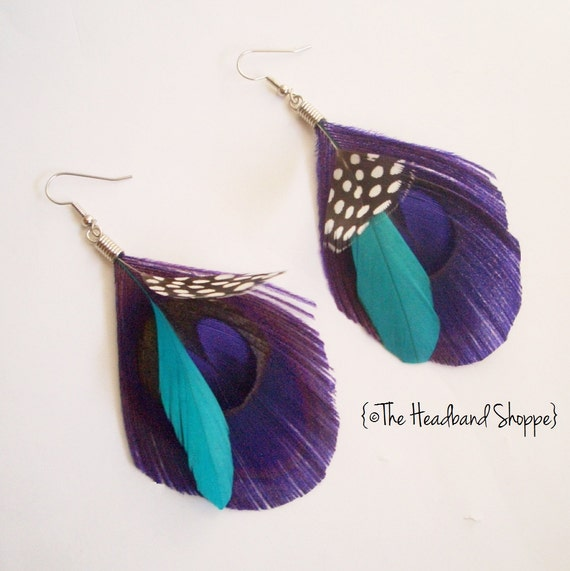 Reserved - 3 pairs of Boho Purple & Teal - needs by end of May