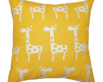 Nursery Pillow, Yellow Giraffe Throw Pillow, Animal Decor, Stretch / Gisella Kids Pillow, Toddler Bedding, Yellow Giraffe - Free Ship