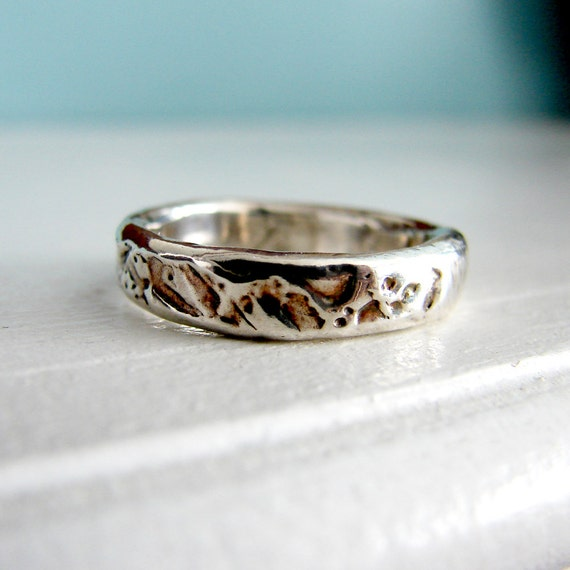 sterling silver rain textures ring by oneloomstudio on etsy