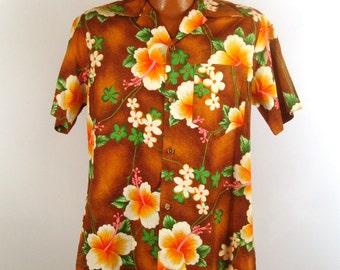 Hawaiian Shirt Vintage 1960s Hawaii Red Tiki Print Men's Royal Hawaiian