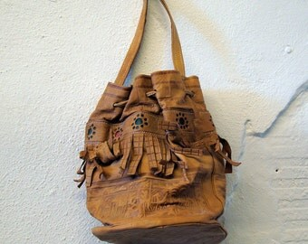 Brown Leather Purse Vintage 1970s Distressed Bag Handbag