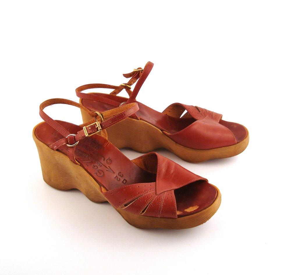 famolare platform sandals vintage 1970s famolare wedges