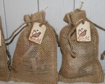 Burlap Bags Wedding Favor Bags with Tag,  Burlap Wedding, Rustic Wedding Favors Bags, Birdseed Wedding Favors Bags 4 x 6, Quantity 100