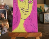 Mini Painting- ODD WOMEN Hiya 2 x 3.5 in Gouache