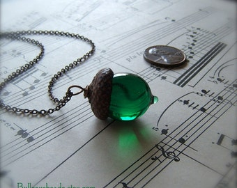 Glass Acorn Necklace in May Birthstone Emerald Green by Bullseyebeads