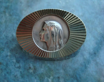 Beautiful Heavy French Antique Vintage Silver Our Lady of Lourdes Medal Catholic Religious Pin Brooch Broach