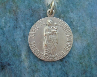 Antique Vintage French Silver Our Lady of Corme-Ecluse Catholic Religious Medal Necklace Pendant