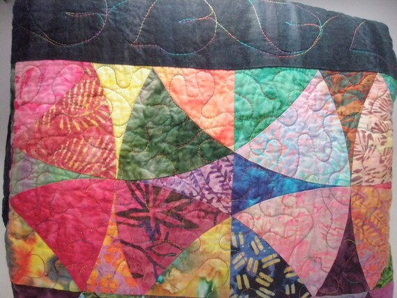 quilted scrappy patchwork throw blanket - Winding Ways Batik