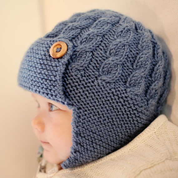 Knitting Patterns Baby Cable Hats : Cabled Baby Aviator Hat Knitting Pattern pdf DAYTON by LoveFibres