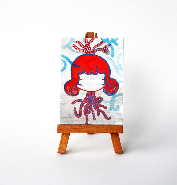 Watercolor ACEO painting drawing abstract girl portrait - redhead number 99