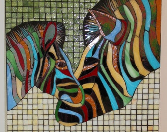 Reserved for Beth CLEARANCE SALE:  Mosaic, Stained Glass, Zebra, Abstract, Colorful, Mother, Baby, Love