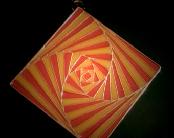 Groovy 1970s Large Psychedelic Disco Pendant in Orange and Yellow