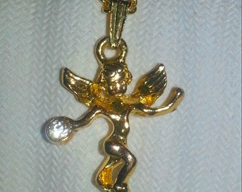 1960s Gold Angel Pendant with Crystal Stone