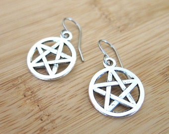 Star Pentagram Charm Earrings Tibetan Silver