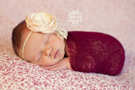 Red Stretch Wrap Newborn Props, Cherry Nubble Newborn Wrap Photo Prop, Newborn Photography Prop, Newborn Girl Photo Prop, Baby Photo Props