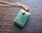 Copper and Green: Turquoise and Copper, Chain Wire Wrapped Necklace
