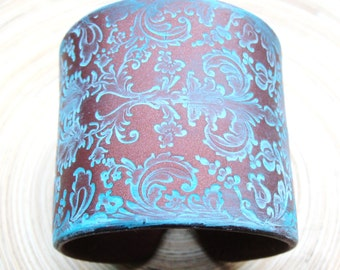 SALE Copper Style Cuff Bracelet Damask in Blues Turquoise Patina by theshagbag on Etsy