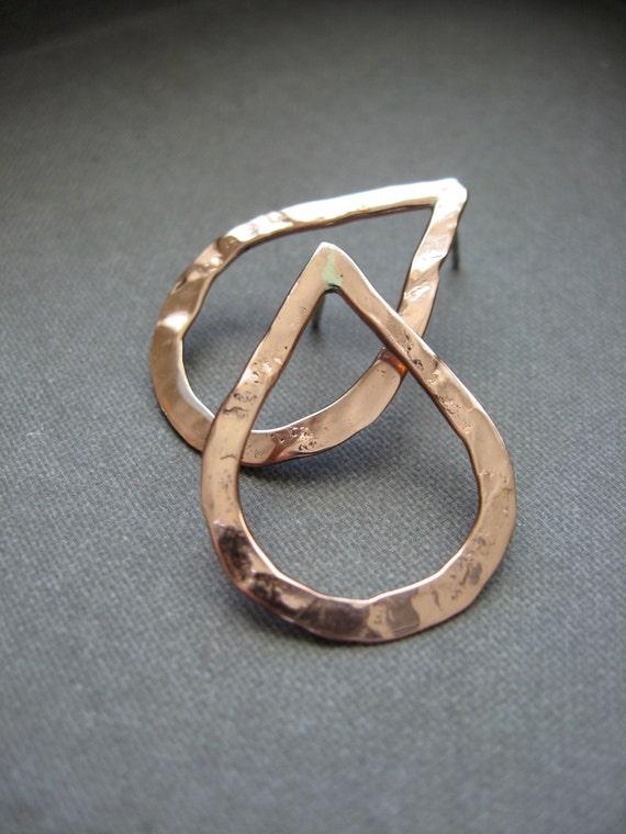 Mini sterling silver pound drop hoop earrings in Copper - E1124 or Bronze - E1123