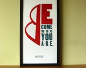 "Nietzsche Letterpress Print: ""Become Who You Are"", Red and Black, Wood and Metal Type, and Block Print, Wall Decor, Wall Art"