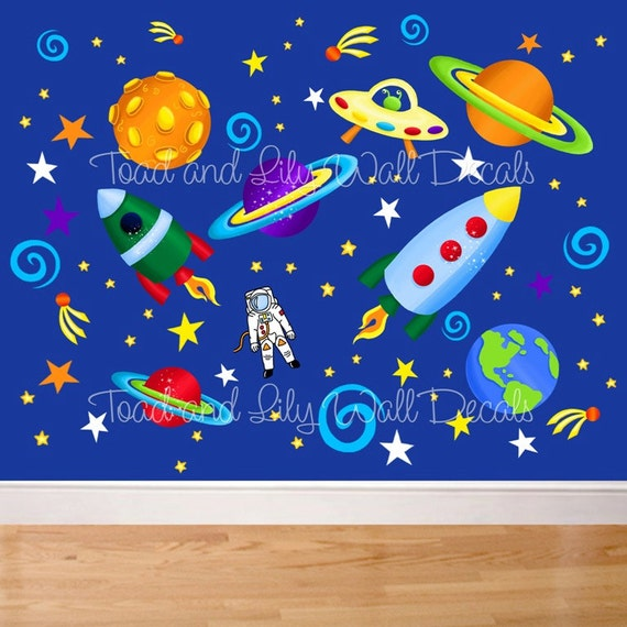 Fabric wall decals set of outerspace astronaut blast off space for Space mission fabric