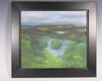 Impressionistic oil painting 'Above The Garonne' French Pech David unique original oil painting by Jean Macaluso