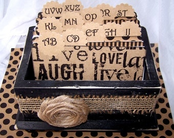 GUEST Book Box, Dividers, Advice Cards, Black Distressed Box, Shabby Chic Box, Live, Love, Laugh, Burlap, Rustic Wedding, Custom Colors