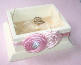 Ring Bearer Box - Ring Box, Blush Pink and Ivory, Pink, Rose Pink, Pale Pink, Ring Pillow, Custom Colors