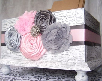 Wedding Card BOX, Light Pink and Grey, White Card Box, Rustic Card Box, Blush, Pink and Gray Wedding, Shabby Chic, Custom colors available