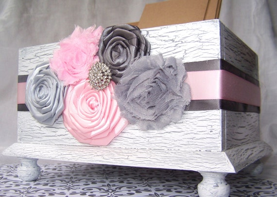 Wedding Card BOX -  Modern Shabby style, Pink and Grey, White Shabby Chic Box, Custom colors available