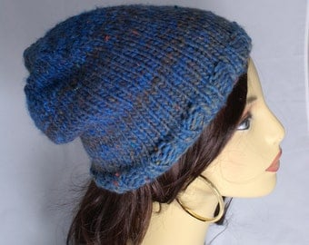 Ready to Ship Slouchy Beanie Hat Blue Tweed Slouch Unisex Beanie