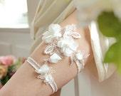 White wedding garter set, bridal garter belt with chiffon flowers - style #404