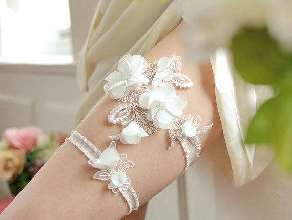 White wedding garter set, bridal garter belt with chiffon flowers - style #404