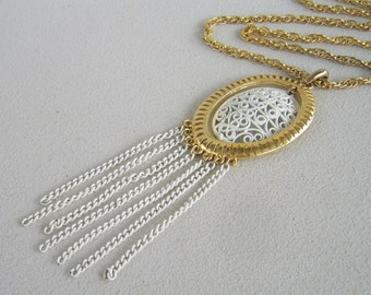 Vintage White Enamel Filigree Necklace Long Summer