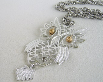 Vintage Silver Owl Necklace Large Hinged Pendant & Chain