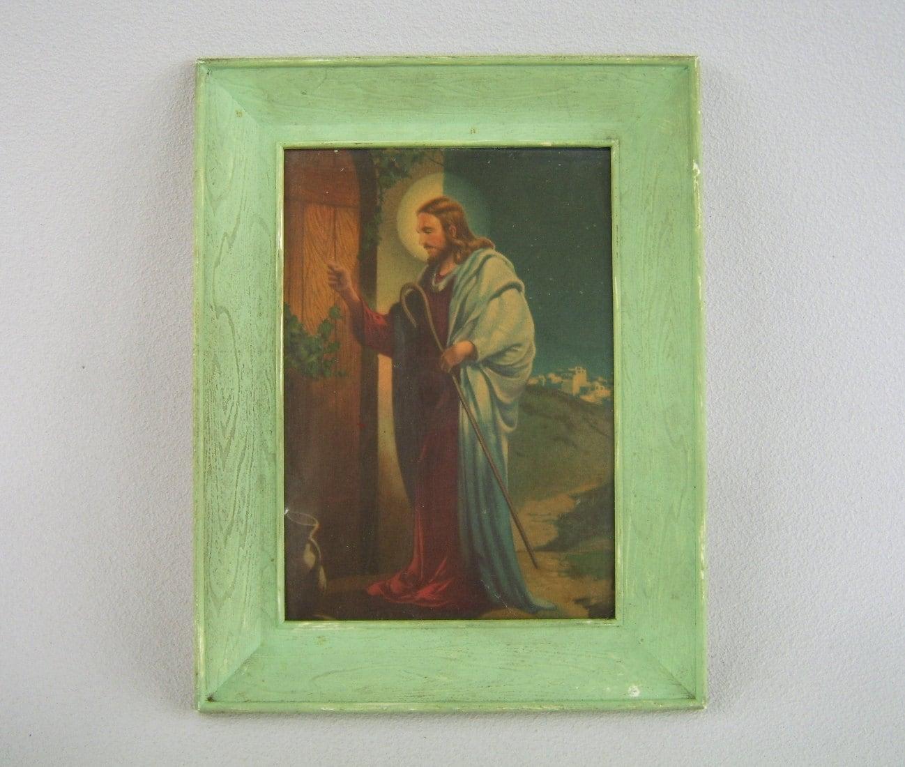 Vintage Framed Print Jesus Knocking At Door By Uncommonvintage