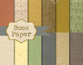 Instant Download - Vintage Book Paper 12x12 printable paper set digital download