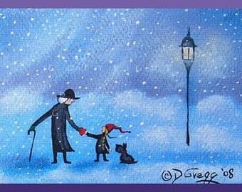 A Valentine For You  A tiny Valentine Love Dog Snow Storm Print by Deborah Gregg
