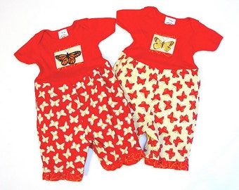 Set of 2, Red Butterfly Rompers Twin Baby Girls Outfits Coordinating Twin Outfits Gift Twin Girl Clothes 1st First Birthday Outfit for Twins