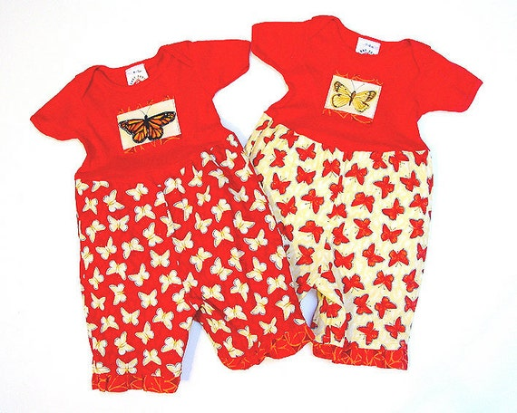 Set of 2 - Coordinating Twin Outfits Gift for Twin Baby Girls Outfit Twin Girl Clothes Red Butterfly Romper 1st Birthday Outfit for Twins