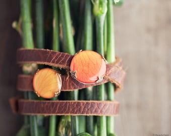 Brown leather wrap bracelet - Orange Rose leather bracelet - Brown leather bracelet - Flower bracelet - Triple Wrap Bracelet - Boho (BT028)