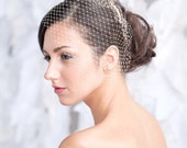 Mini birdcage veil, bridal veil, small veil, ivory, white, champagne - READY TO SHIP
