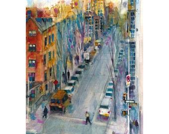 Highline - New York City Street  - Vertical  Art Print  from Original Watercolors -