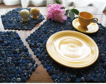 Blue Place mats, Yo Yo Doily, Navy Blue Table Cloth, Traditional Textile, Dining Table, Home Decor